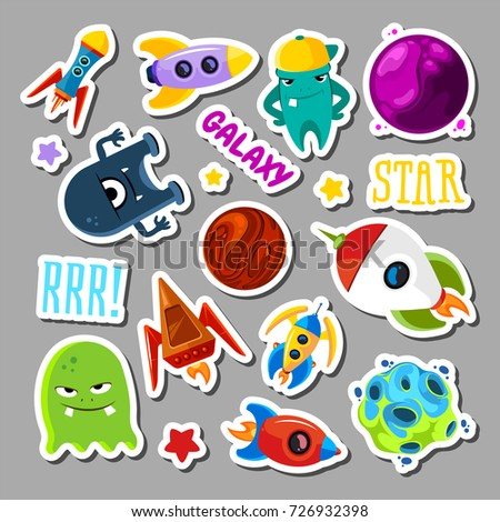 Set of stickers with space objects and monsters. Cartoon vector illustration for children. Monster alien and ufo spaceship stickers collection #726932398
