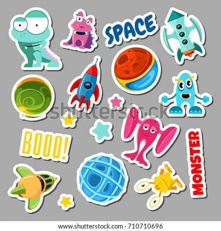 set of stickers with space