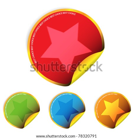 Set of stickers with star