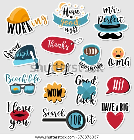 Set of stickers with text and everyday expressions for social media, chat, messages, mobile and web apps, online communication, networking, web design, labels and printed material. #576876037