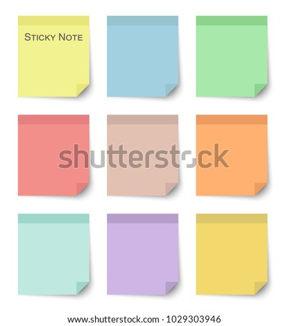 set of sticky notes with flat