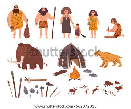 set of stone age theme