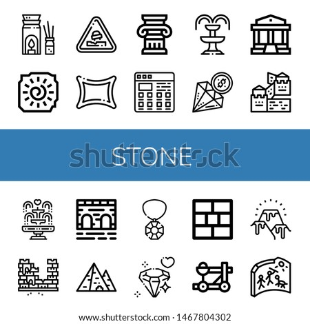 Set of stone icons such as Aromatherapy, Cave painting, Pothole, Rune, Column, Tiles, Fountain, Diamond, Parthenon, Great wall of china, Brick, Bridge, Pyramid, Gem, Brick wall , stone