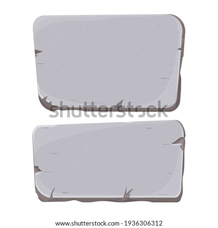 Set of Stone tablet, rock banner with cracked elements in cartoon style isolated on white background. Grey frame, block boulder for interface ui games. ストックフォト ©