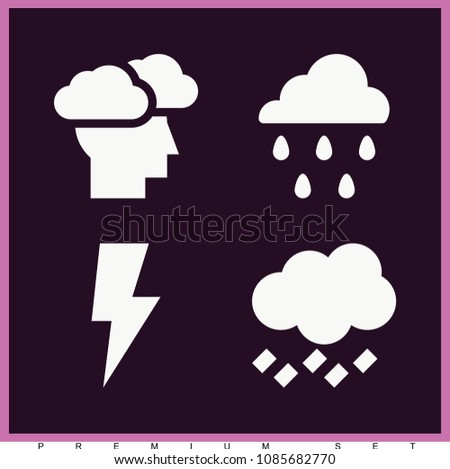 set of 4 storm filled icons