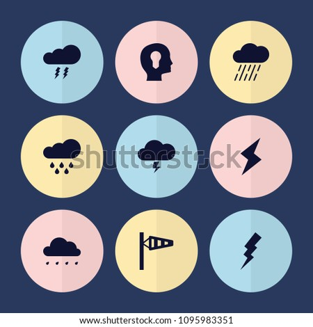 Set of 9 storm filled icons such as wind cone, flash, rain, thunderstorm, head with keyhole