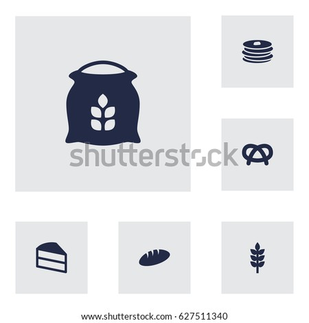 Set Of 6 Stove Icons Set.Collection Of Grain, Crepe, Sack And Other Elements.