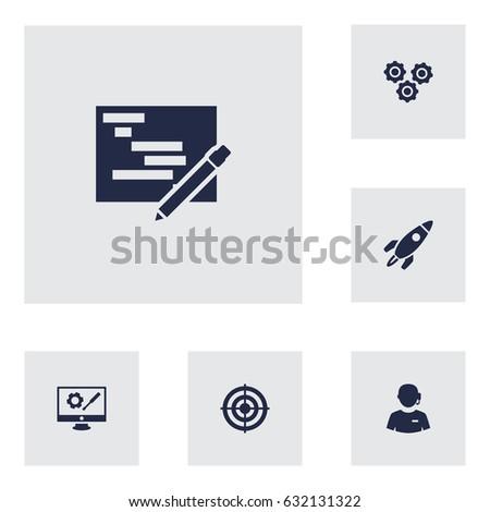 set of 6 strategy icons set