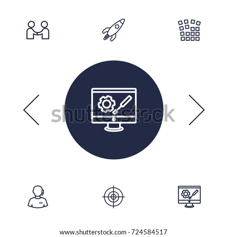 set of 6 strategy outline icons