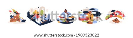 Set of stressed and overwhelmed people overloaded with news and information from internet media and communication in social networks. Flat cartoon vector illustration isolated on white background Сток-фото ©