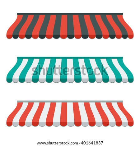 Set of striped awnings for shop and marketplace. Isolated and colorful. Flat design. Vector illustration