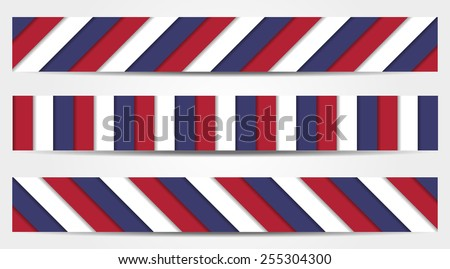 set of 3 striped banners in