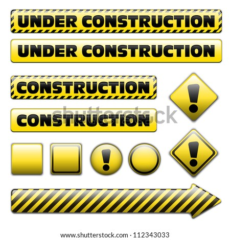 Set of striped under construction signs