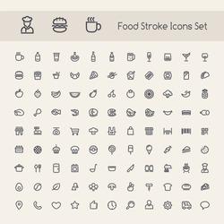 Set of Stroke Food Icons. Isolated on White Background.