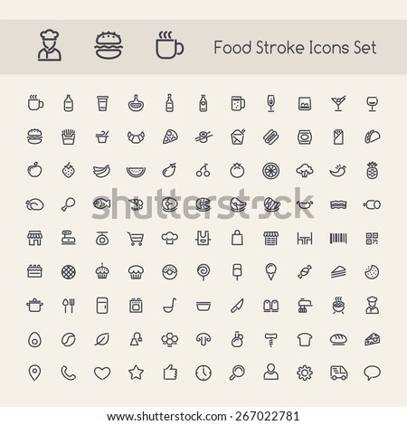 Set of Stroke Food Icons. Isolated on White Background. #267022781