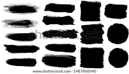 Set of strokes stock with canvas paper texture