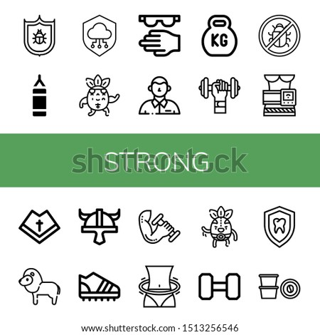 Set of strong icons such as Antivirus, Punching bag, Shield, Strong, Protective, Defendant, Kettlebell, Dumbbell, Slimming belt, Mantle, Lion, Viking helmet, Trainers , strong Foto stock ©