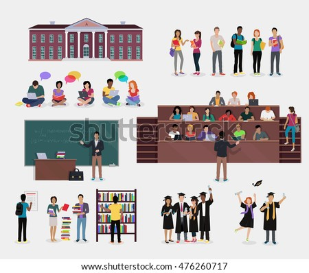 Set of Student Education. Students in audience, student in library, lecture, reading, learning process, doing homework, graduate student in graduation cap and gown, College education background