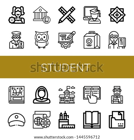 Set of student icons such as Cheerleader, Professor, School, Owl, Pencil, Mathematics, Graduate, Lunch box, Philosophy, Calculus, Cap, Nun, Learning, Pencil case, Reading , student