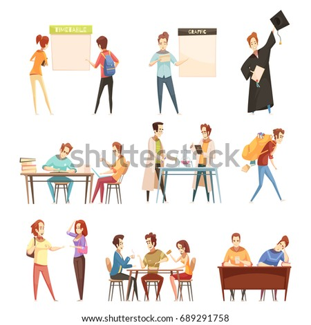 Set of students near timetable, during laboratory work, eating, with diploma retro cartoon style isolated vector illustration