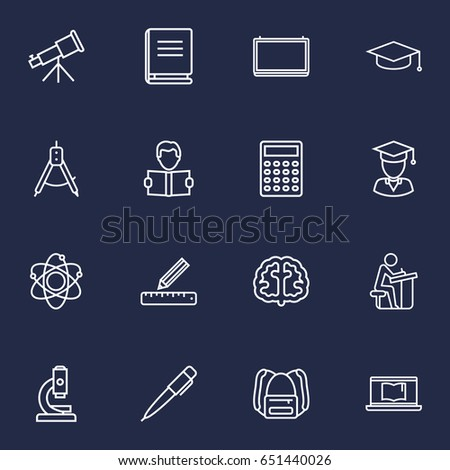 Set Of 16 Studies Outline Icons Set.Collection Of Brain, Calculator, Pupil And Other Elements.