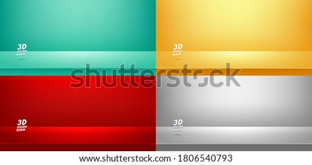 Set of studio room Green, Red' Yellow, Grey background used for Display your products, Template mock up, Business backdrop. Vector illustration Stockfoto ©
