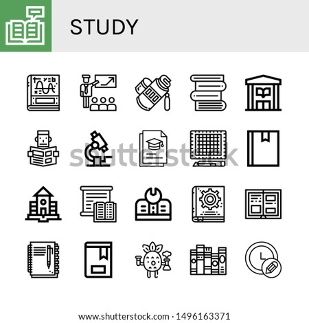 Set of study icons such as Reading, Calculus, Presentation, Tube, Books, Library, Microscope, Graduation, Cutting mat, Book, School, Studying, Education, Manual book, History , study
