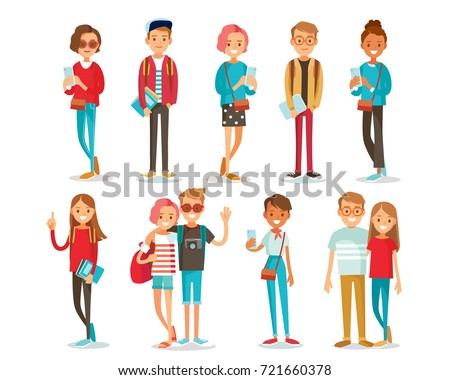 Set of style young people