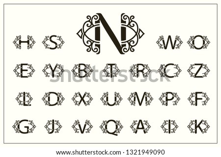 Set of Stylish Capital Letters. Vintage Logos. Filigree Monograms. Beautiful Collection. English Alphabet. Simple Drawn Emblems. Graceful Style. Design of Calligraphic Insignia. Vector Illustration Stock fotó ©