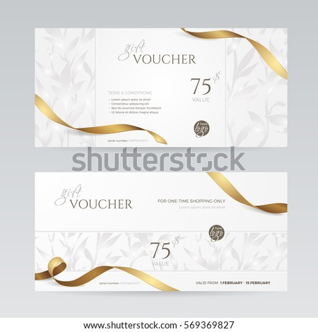 Set of stylish gift voucher with golden ribbon and silver floral pattern. Vector template for gift card, coupon and certificate. Isolated from the background.