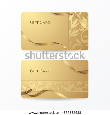 Set of stylish golden gift cards with ribbons and floral pattern. Vector template for design vouchers and credit or discount cards. Isolated from a background.
