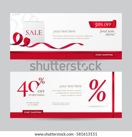 Set of stylish horizontal banners with paper shopping bag and red ribbons. Vector templates for discounts offered on the website. Isolated from the background.