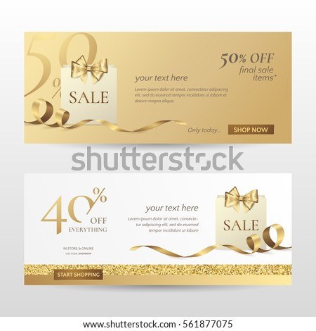 Set of stylish horizontal banners with paper shopping bag, golden bow and ribbon. Vector templates for promotion design on the website with gold and white background. Isolated from the background