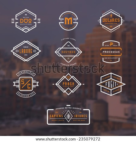 set of 10 stylish line insignias over a blurred NY background #235079272