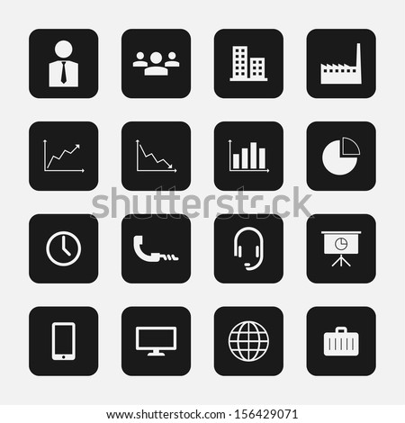 Set of 16 Stylish Minimal Business Icons