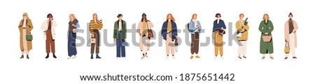 Set of stylish modern women in fashion clothes. Spring and autumn vogue. Collection of people in fashionable urban outfits isolated on white background. Colorful flat vector illustration