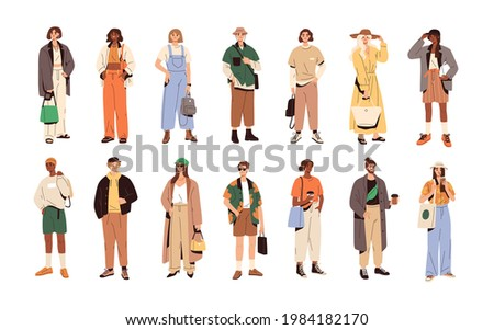 Set of stylish people in fashion casual outfits with accessories and bags. Young modern men and women wearing trendy summer clothes. Colored flat vector illustration isolated on white background