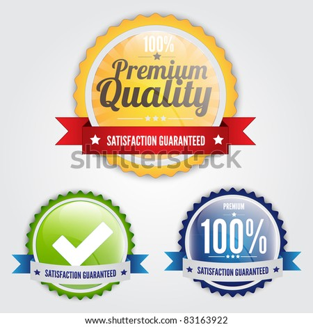 Set of stylish quality guarantee badges