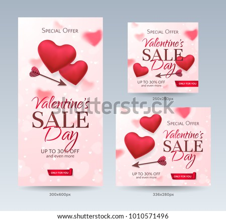 Set of stylish sale banners of different sizes for Happy Valentine's day with red hearts and arrows. Romantic template of flyers for discount offer. Vector pink background with hearts. #1010571496