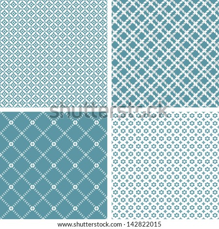 Set of 4 stylish simple pattern. A seamless vector background. White texture.