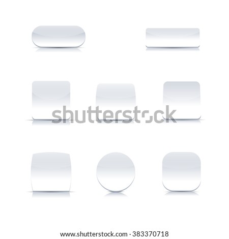 Set of stylish white buttons of the various form isolated on white background, vector illustration. #383370718