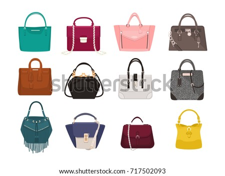 set of stylish women's handbags