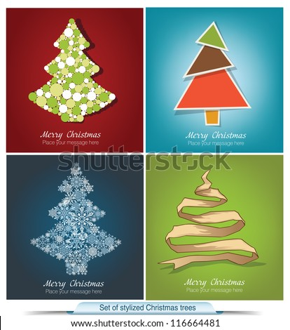 Set of stylized Christmas trees
