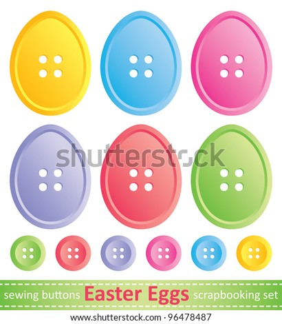 set of stylized easter eggs, sewing buttons - stock vector