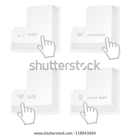 Set of stylized enter buttons (b2b, enter, ecommerce, secure) with pointer hand