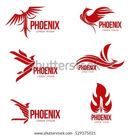 set of stylized graphic phoenix