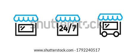 Set of stylized images of a store with a canopy, round the clock and delivery online shop icons. Editable line vector. Building with a blue awning, 24/7 signage and on wheels. Group pictogram.