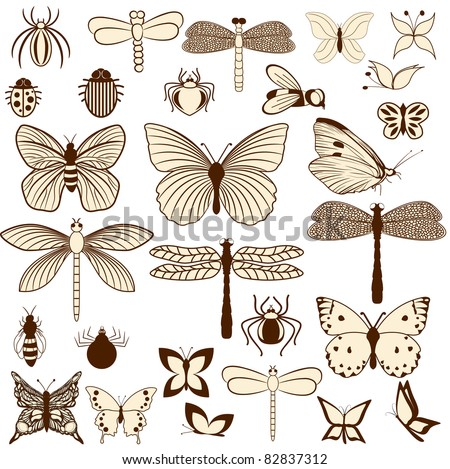 Set of stylized insects for decorating your work. Easy to edit and to change colors.