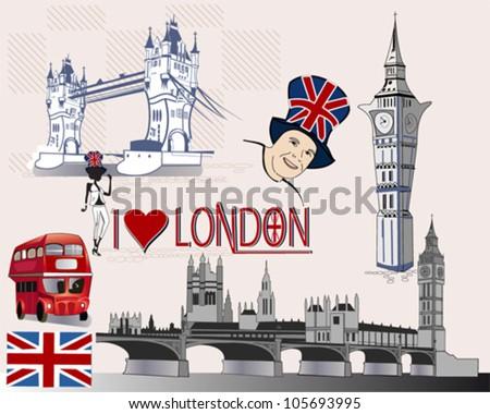 Set of stylized London sights - design elements