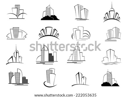 set of stylized outline